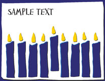 Eight Candles in Hannakuh Colors with Room for Text. Eight Hanukah candles with a center, service candle (shamash Stock Images