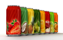 Eight cans of juice Royalty Free Stock Image