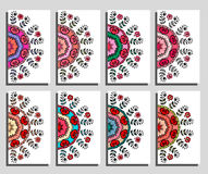 Eight cards with colorful beautiful Mandalas. Vector illustration Stock Photography