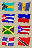 Eight Caribbean flags. Computer generated illustration of the flag of eight Caribbean countries: Bahamas, Barbados, Cuba, Haiti, Jamaica, Dominican Republic Royalty Free Stock Image