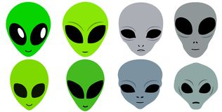 Eight Cartoon Alien Faces Icon Set. Clean stylized flat vector image set of several different alien heads on an isolated white background Stock Image