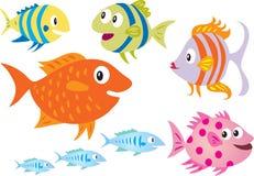 Eight cartoon fish Royalty Free Stock Photo