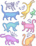 Eight cat silhouettes Royalty Free Stock Image