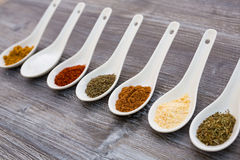 Eight ceramic spoons lined up in a line filled with colorful spices Stock Photography