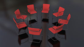 Eight chairs in circle and black floor Royalty Free Stock Photography