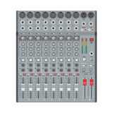 Eight channels professional studio sound mixer. Vector flat design concert sound mixer with knobs sliders and inputs Stock Image