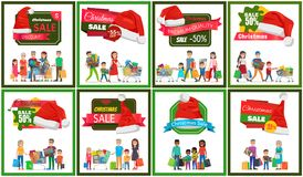Eight Christmas Sale Banners Vector Illustration. With happy families carrying their colorful purchases, wheelbarrows, red hats, ad text pretty ribbons Royalty Free Stock Photo