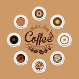 Eight Coffee mugs from above. Vector illustration of eight coffee mugs as seen from above Stock Photos