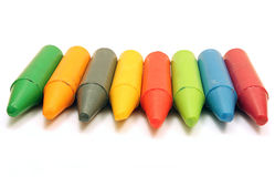 Eight color chalks Stock Photos