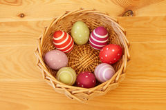 Eggs in Easter Basket. Eight colored easter eggs in the basket on the wooden background Royalty Free Stock Photos