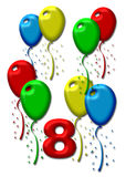 Eight colorful balloons Stock Photo