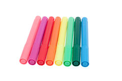 Eight colorful pens royalty free stock photos