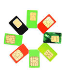 Eight colorful sim card Stock Photography