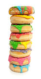 Eight colorful vertical donuts Royalty Free Stock Image