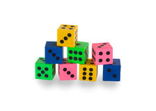 Eight colorfull pensil erasers in the shape of dice Royalty Free Stock Photography