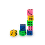 Eight colorfull pensil erasers in the shape of dice Stock Image