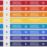 Eight colour strips, template for infographics Stock Images
