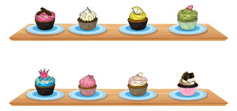 Eight cupcakes at the wooden shelves. Illustration of eight cupcakes at the wooden shelves on a white background Stock Images