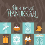 Eight days of Hanukkah design. EPS 10 vector illustration