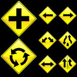 Eight Diamond Shape Yellow Road Signs Set 2. Vector Illustration of Eight Diamond Shape Yellow Road Signs Set 2 Royalty Free Stock Photo