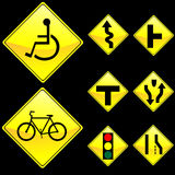 Eight Diamond Shape Yellow Road Signs Set 3 Royalty Free Stock Photos