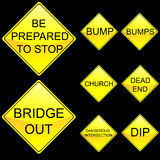 Eight Diamond Shape Yellow Road Signs Set 6 Royalty Free Stock Photo