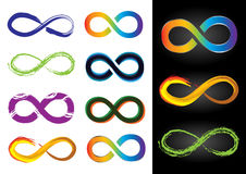 Eight Different Infinity Symbols - Vector. Illustrations Royalty Free Stock Photo