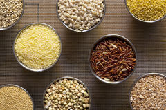 Eight Different Kinds of Grains Royalty Free Stock Photo