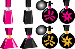 Eight Different Perfume Bottles. Several Perfume bottles old and new, colors can be changed easily stock illustration