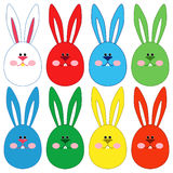 Eight Easter rabbit faces Royalty Free Stock Photography