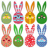 Eight Easter rabbit ornamental faces Royalty Free Stock Photos