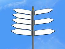 Eight empty directional sign post Royalty Free Stock Images