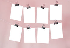 Eight empty forms. On a pink background Stock Photography