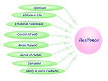 Sources of Resilience. Eight external and internal Sources of Resilience royalty free illustration
