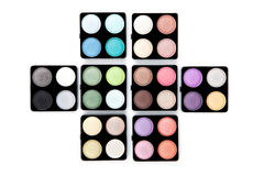 Eight eyeshadow palettes Stock Photography