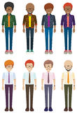 Eight faceless bachelors Royalty Free Stock Images