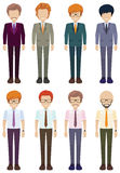Eight faceless gentlemen Stock Photo
