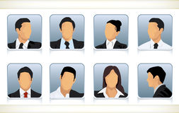 Eight faceless heads of businesspeople. Template illustration of eight faceless or featureless head and shoulder portraits for male and female businesspeople in Stock Photography