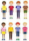 Eight faceless kids standing Stock Photo