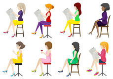 Eight faceless ladies sitting down. On a white background Stock Photography
