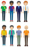 Eight faceless men smiling Royalty Free Stock Photos