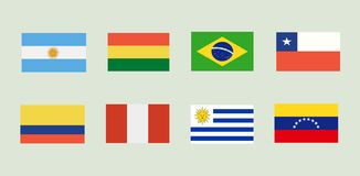 National Flags of South America. royalty free illustration