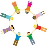 Eight friends. In a circle holding hands Royalty Free Stock Image