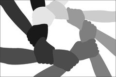 Eight friends crossed hands Stock Photo