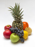 Eight fruit on white table. Fruit still life on a white background stock photography