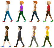 Eight gentlemen walking without faces Stock Images