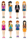 Eight girls with no faces Royalty Free Stock Photo