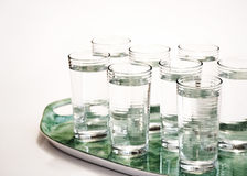 Eight glasses of water on tray Stock Photography