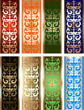 Eight Gold Color Border Design Elements. Vector illustration Royalty Free Stock Photo