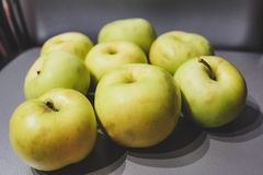 Eight green apples stock photography